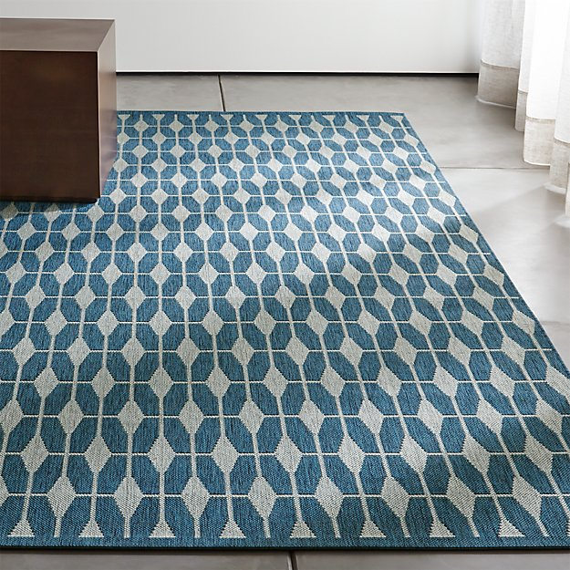 Aldo II Blue Indoor-Outdoor Rug | Crate and Barrel | title