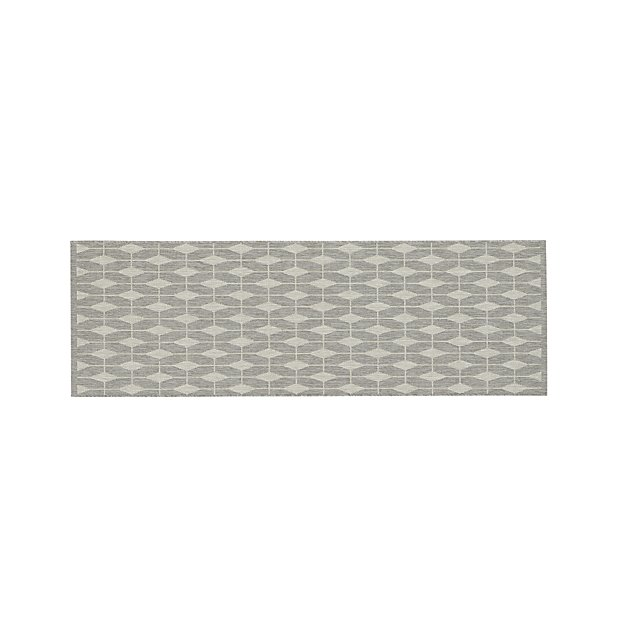 Aldo II Dove Grey Indoor-Outdoor Rug Runner | Crate and Barrel