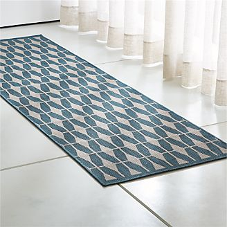 Aldo Ii Blue Indoor Outdoor Rug Runner