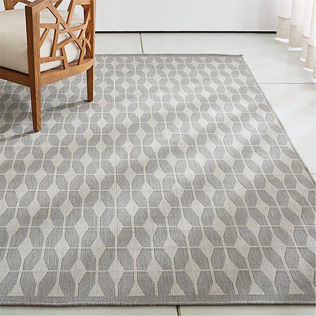 Aldo grey outdoor rug crate and barrel for Cb2 indoor outdoor rug