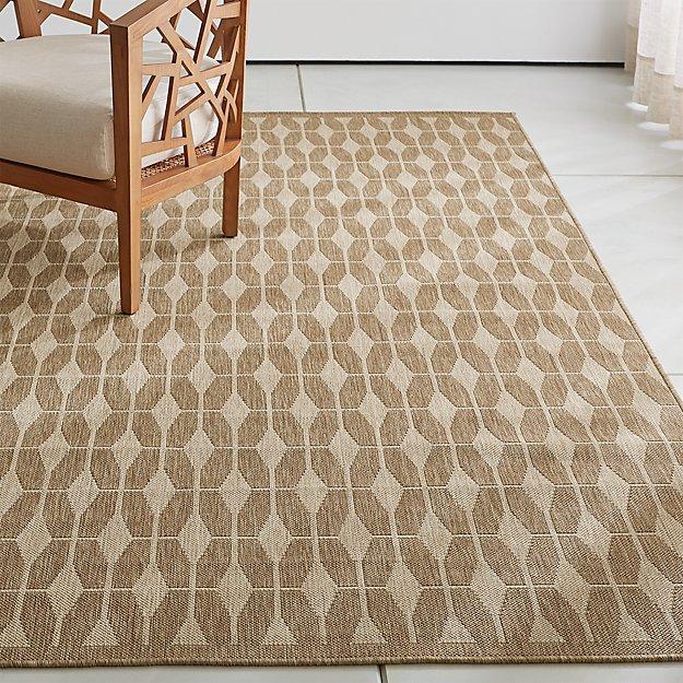 Aldo ii flax beige indoor outdoor rug crate and barrel for Cb2 indoor outdoor rug
