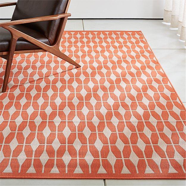 Aldo mandarin orange outdoor rug crate and barrel for Cb2 indoor outdoor rug