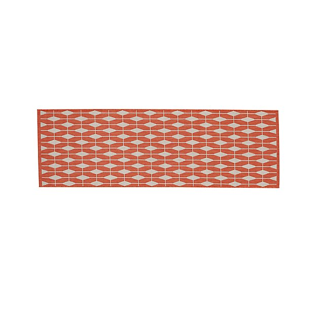 Aldo ii mandarin orange indoor outdoor rug runner crate for Cb2 indoor outdoor rug