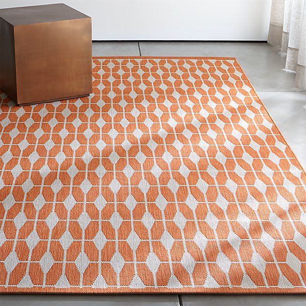 Aldo Mandarin Orange Outdoor Rug | Crate and Barrel | title