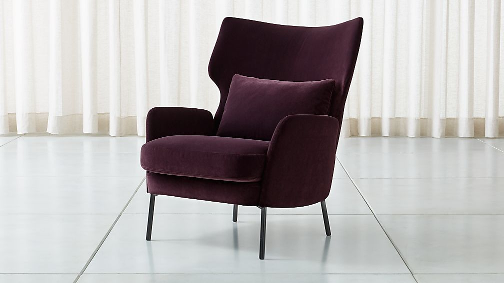 Alex Bordeaux Velvet Accent Chair - Image 1 of 8