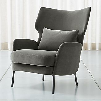Alex Grey Velvet Accent Chair