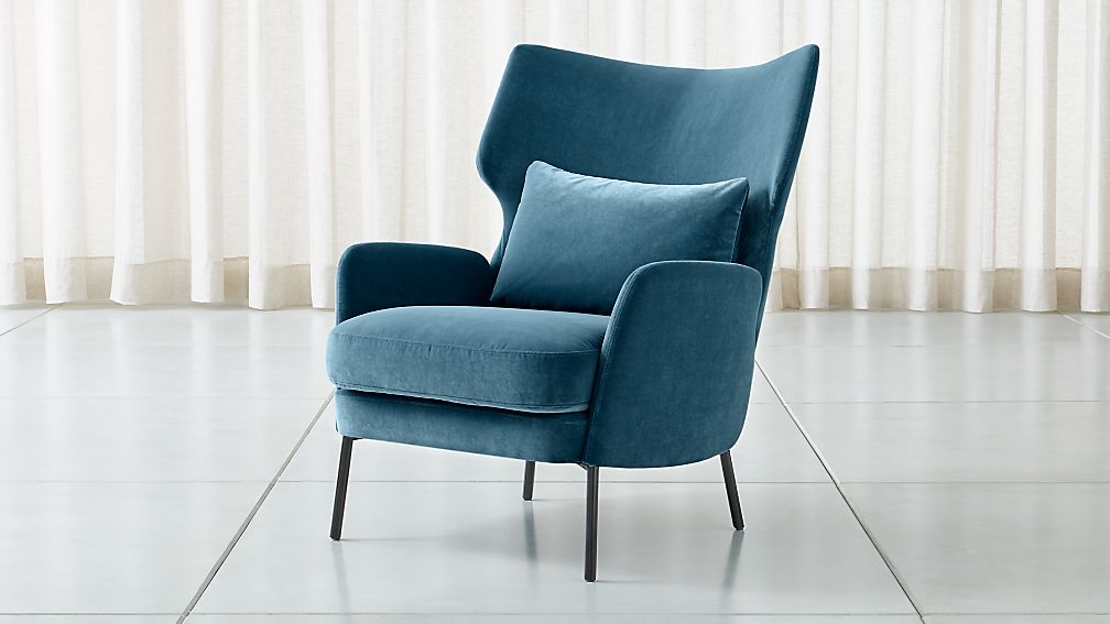 Alex Navy Blue Velvet Accent Chair - Image 1 of 7
