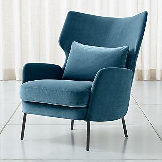 Alex Navy Blue Velvet Accent Chair