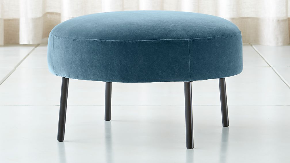 Alex Navy Blue Velvet Ottoman - Image 1 of 4