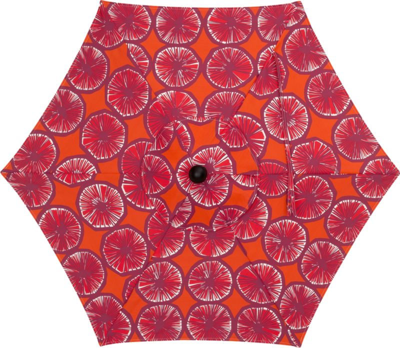"""The Appelsiini caliente umbrella canopy is made of weather- and UV-resistant Spun Polyester. Designed in 1950, Appelsiini (""""orange"""") represents one of the first patterns created by legendary Marimekko designer Maija Isola. Steeped in rich color and deliberate detail, linear rows of orange slices are abundant in graphic repetition. With painting supplies scarce in the early 1950s, Maija experimented with crayons to achieve similar color saturation. Drawing patterns on thin sheets of paper, she would dampen them on a wooden board, allowing the hues to deepen and permeate the page in a painterly effect. Appelsiini represents this unconventional method. Fits our 6' round frames. (Frames and stands sold separately).<br /><br /><NEWTAG/><ul><li>Pattern designed by Maija Isola; early 1950s</li><li>Cover: Weather- and UV-resistant Spun Polyester (fits our 6' round frames; spot clean)</li><li>Made in Indonesia</li></ul><br />"""