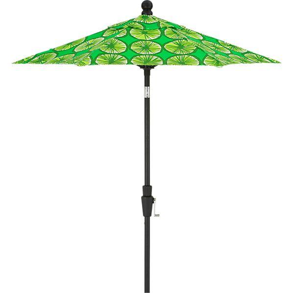 6' Round Marimekko Appelsiini Green Umbrella with Black Frame