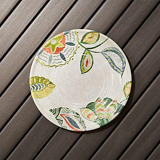 Alfresco Melamine Botanical Flower Salad Plate & Melamine Dishes: Plates and Bowls | Crate and Barrel