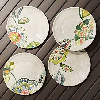 Alfresco Melamine Botanical Flower Salad Plates Set of 4  sc 1 st  Crate and Barrel & Outdoor Dinnerware Sets | Crate and Barrel