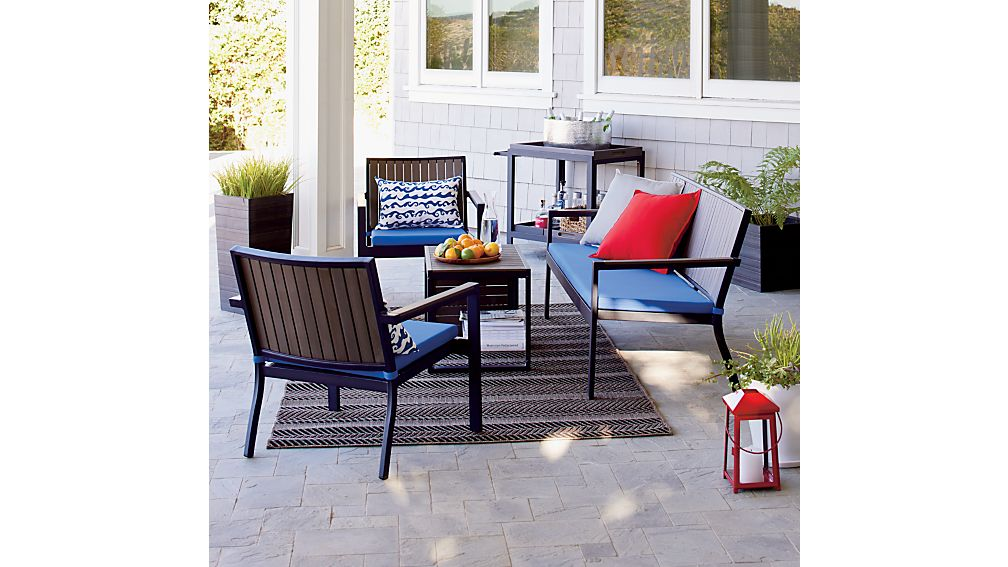 crate barrel outdoor furniture. alfresco grey sofa with sunbrella 3 crate barrel outdoor furniture