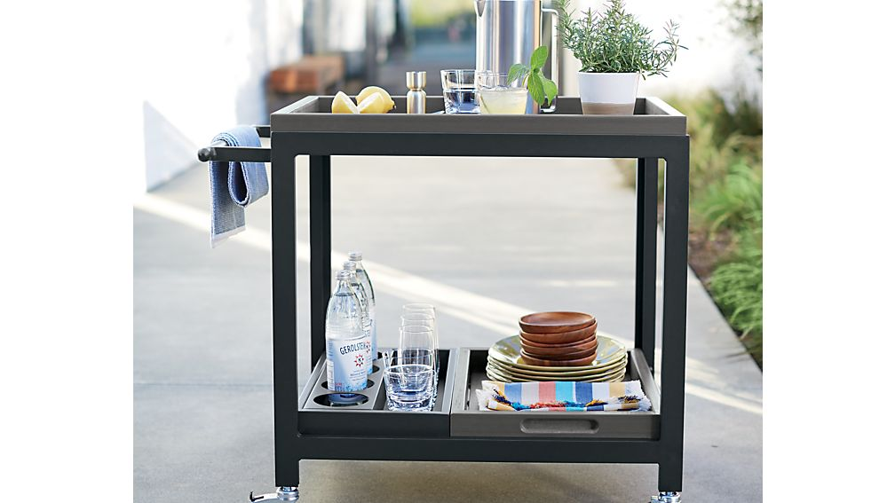 Alfresco Grey Bar Cart with Casters