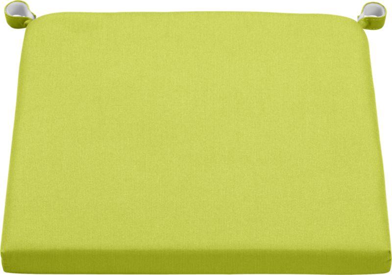 Add extra comfort to Alfresco dining chair seating with fade-, water- and mildew-resistant Sunbrella® acrylic cushions in vibrant apple green.<br /><br /><NEWTAG/><ul><li>Fade- and mildew-resistant Sunbrella acrylic</li><li>Polyurethane foam cushion fill</li><li>Fabric tab fasteners</li><li>Spot clean</li><li>Made in USA</li></ul>
