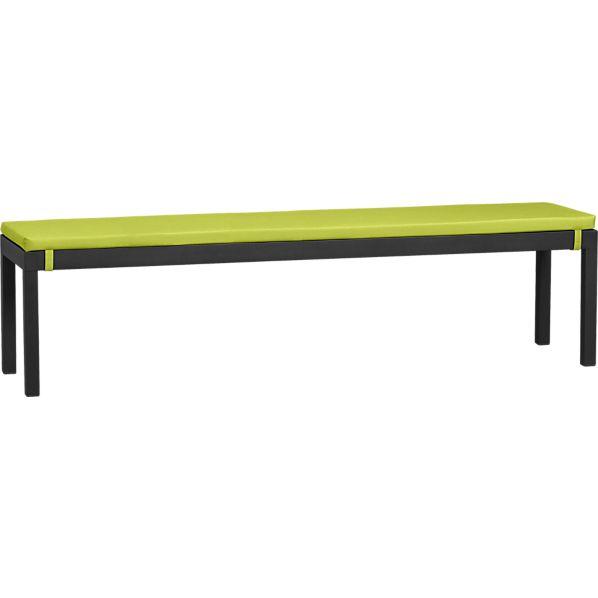 Alfresco Grey Dining Bench with Sunbrella ® Apple Cushion