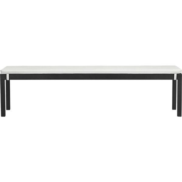 Alfresco Grey Dining Bench with Sunbrella ® Eggshell Cushion