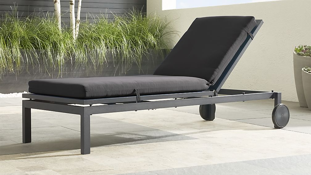 Alfresco II Grey Chaise Lounge with Charcoal Sunbrella ® Cushion - Image 1 of 7
