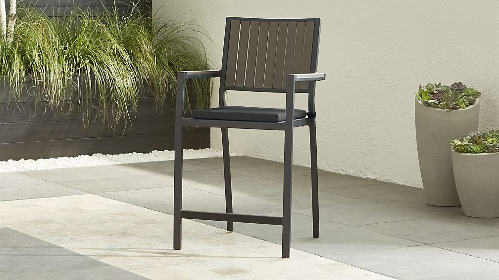 "Alfresco II Grey 24"" Counter Stool with Charcoal Sunbrella ® Cushion - Image 1 of 7"