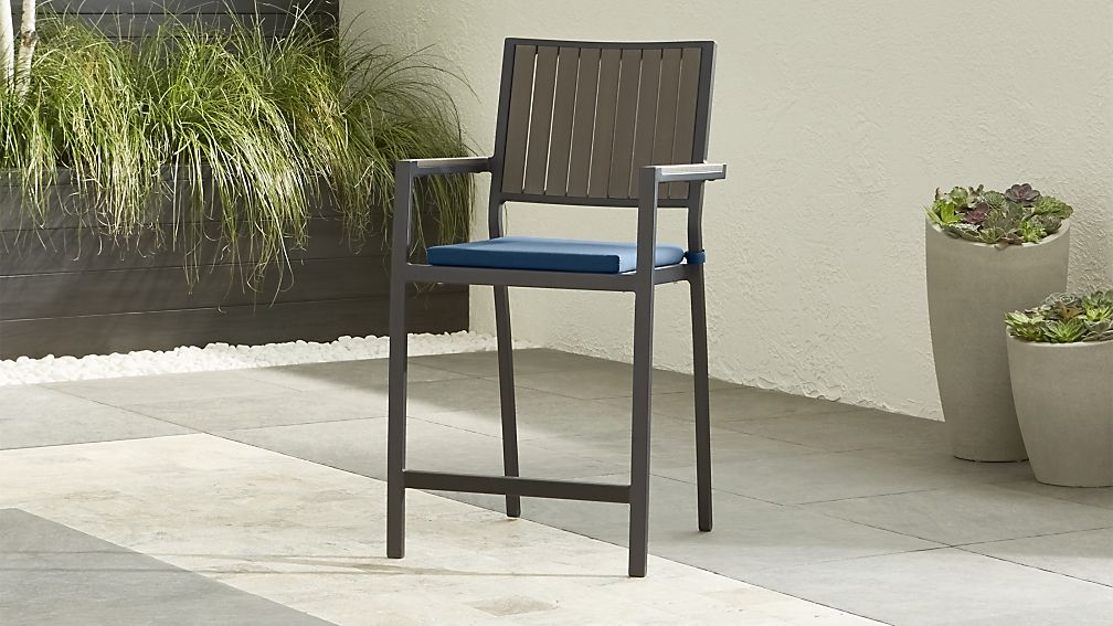 "Alfresco II Grey 24"" Counter Stool with Sapphire Sunbrella ® Cushion - Image 1 of 5"