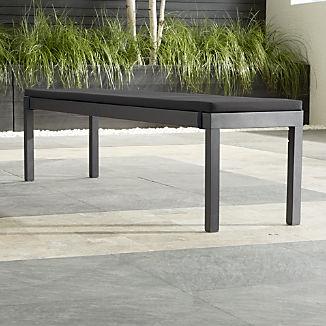 Alfresco II Grey Dining Bench with Charcoal Sunbrella ® Cushion