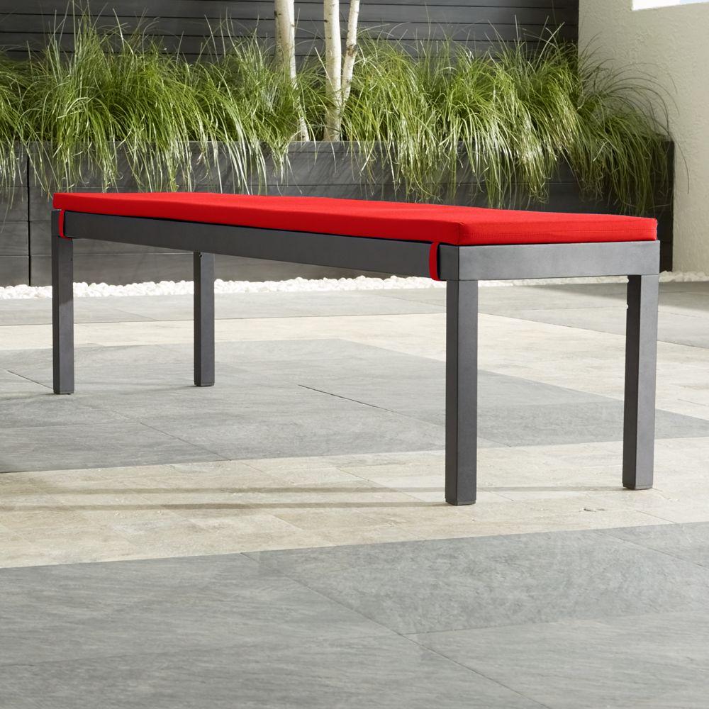 Alfresco Grey Dining Bench with Sunbrella ® Cushion - Crate and Barrel