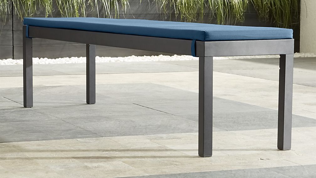 Alfresco II Grey Dining Bench with Sapphire Sunbrella ® Cushion - Image 1 of 7