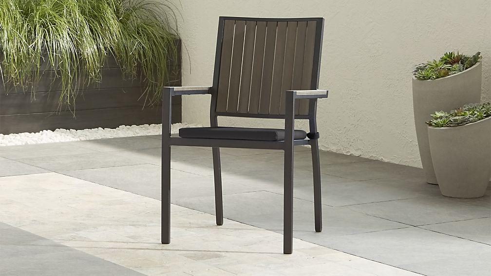 Alfresco II Grey Dining Arm Chair with Charcoal Sunbrella ® Cushion - Image 1 of 10