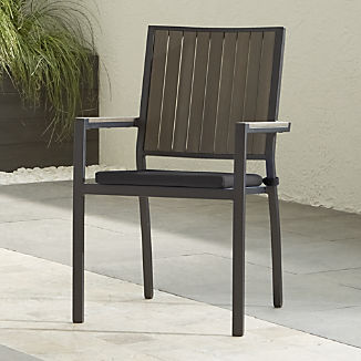 Alfresco II Grey Dining Arm Chair with Charcoal Sunbrella ® Cushion
