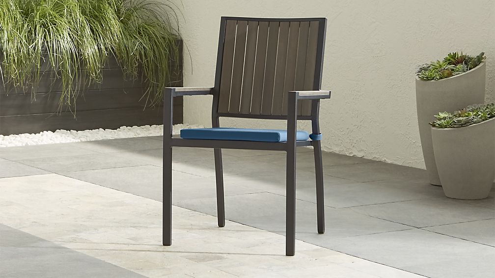 Alfresco II Grey Dining Arm Chair with Sapphire Sunbrella ® Cushion - Image 1 of 8