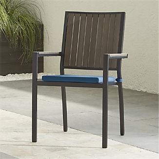 Alfresco II Grey Dining Arm Chair with Sapphire Sunbrella ® Cushion