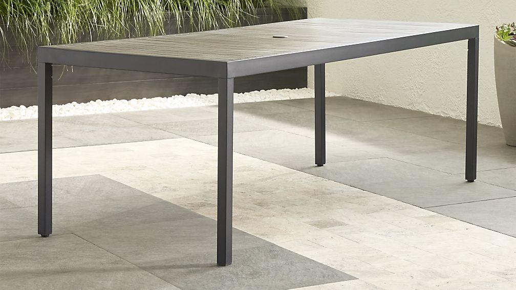 Alfresco II Grey Rectangular Dining Table Reviews Crate And Barrel - Narrow rectangular outdoor dining table