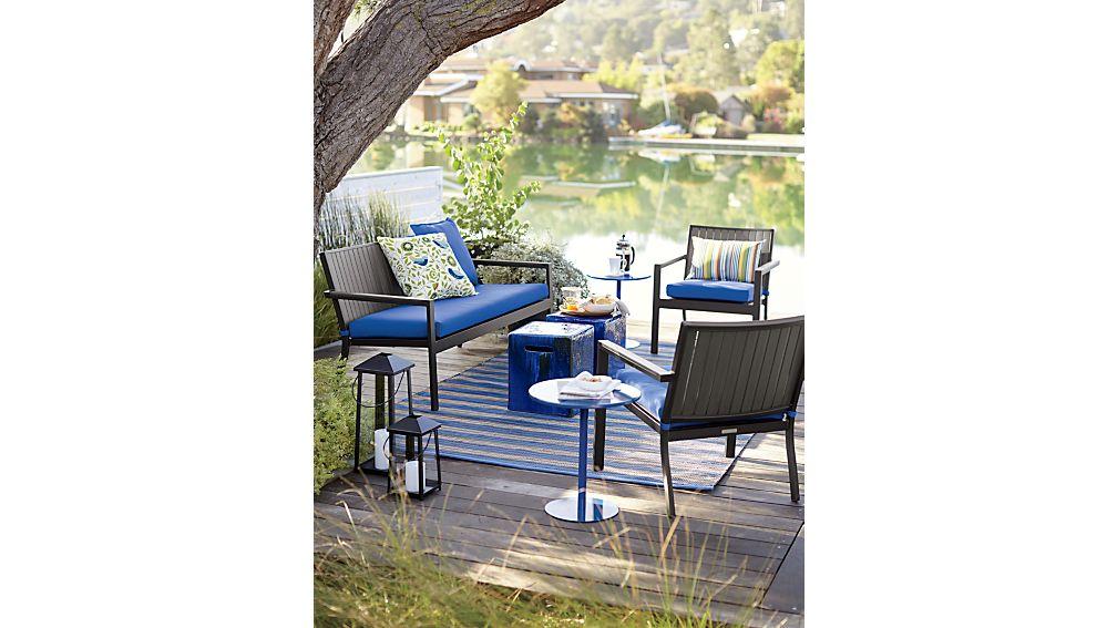 Alfresco Grey Sofa With Sunbrella 174 3 Quot Cushion Crate And
