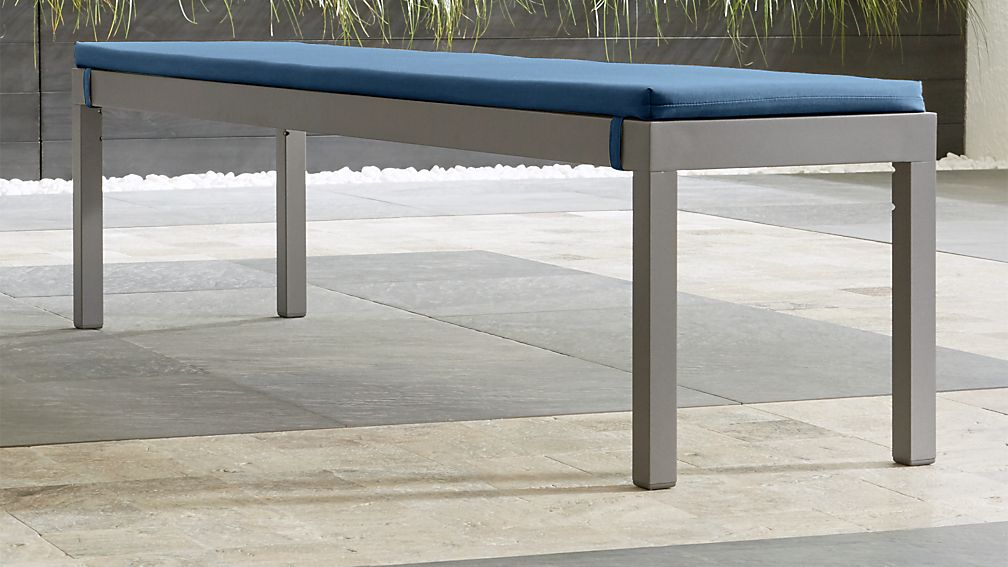 Alfresco II Natural Dining Bench with Sapphire Sunbrella ® Cushion - Image 1 of 4