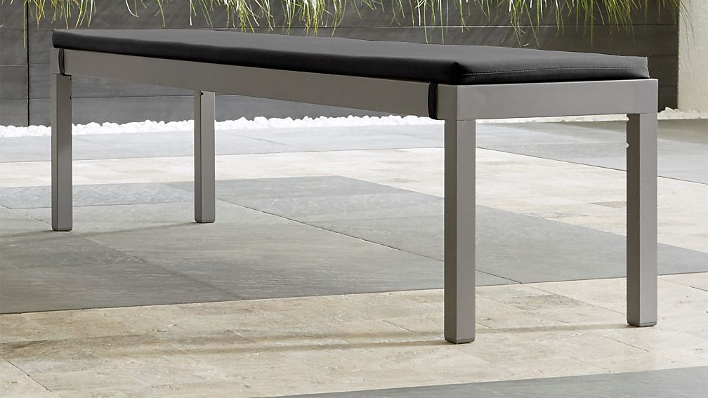 Alfresco II Natural Dining Bench with Charcoal Sunbrella ® Cushion - Image 1 of 5