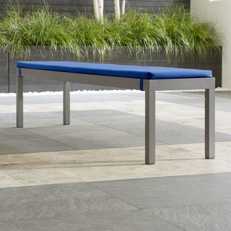 Alfresco II Natural Dining Bench With Blue Cushion
