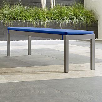 Alfresco II Natural Dining Bench with Sapphire Sunbrella ® Cushion
