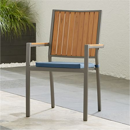 Brilliant Alfresco Ii Natural Dining Arm Chair With Sapphire Sunbrella Cushion Reviews Crate And Barrel Download Free Architecture Designs Scobabritishbridgeorg