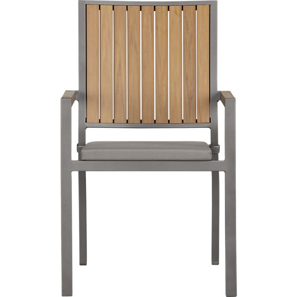 Alfresco Natural Dining Chair with Sunbrella ® Graphite Cushion
