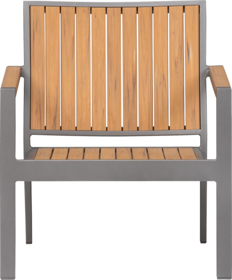 Casual and stylish Alfresco fools the eye with the look of real wood and fools the elements with waterproof, and UV- and fade-resistant qualities. The result is an outdoor collection that will last season after season for years to come. Slats of innovative Polystyrene faux wood are treated with UV and anti-oxidant protection and finished a neutral natural. Sturdy but lightweight aluminum frames are powdercoated silver. Low-slung lounge chair with angled back has slatted faux wood. Alfresco Natural dining collection also available.<br /><ul><li>Extruded polystyrene with UV and anti-oxidant protection</li><li>Rustproof aluminum frame with powdercoat finish</li><li>Made in China</li></ul><NEWTAG/>