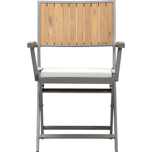 Alfresco Natural Folding Chair with Sunbrella ® Eggshell Cushion