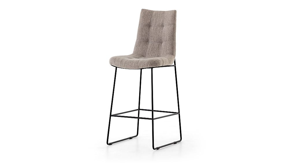 Naomi Dempsey Flannel Tufted Bar Stool - Image 1 of 9