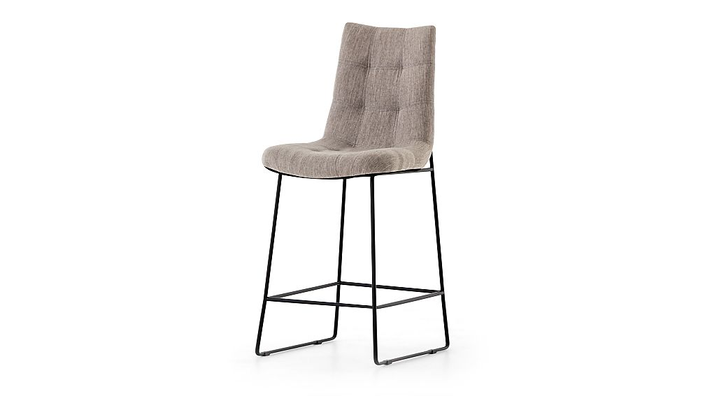 Naomi Dempsey Flannel Tufted Counter Stool - Image 1 of 6