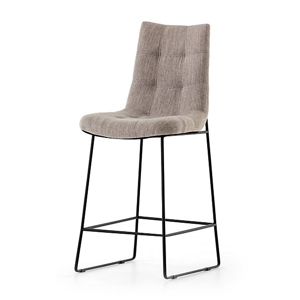 Tremendous Naomi Dempsey Flannel Tufted Counter Stool Crate And Barrel Ibusinesslaw Wood Chair Design Ideas Ibusinesslaworg