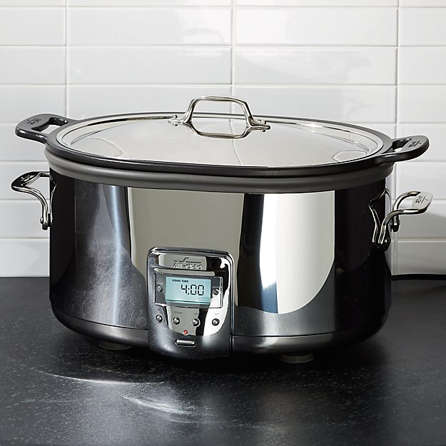 All Clad 7 Quart Deluxe Slow Cooker With Aluminum Insert Reviews Crate And Barrel