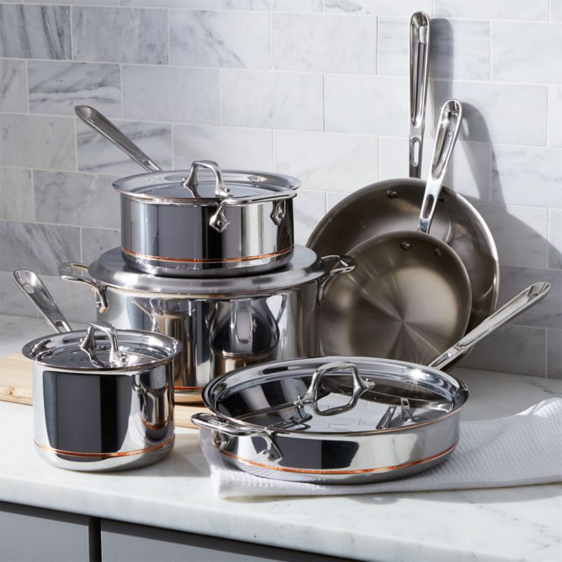 All Clad Copper Core 10 Piece Cookware Set With Bonus Reviews Crate And Barrel