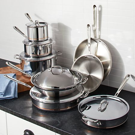 All-Clad Copper Core 14-Piece Cookware Set + Reviews | Crate and Barrel