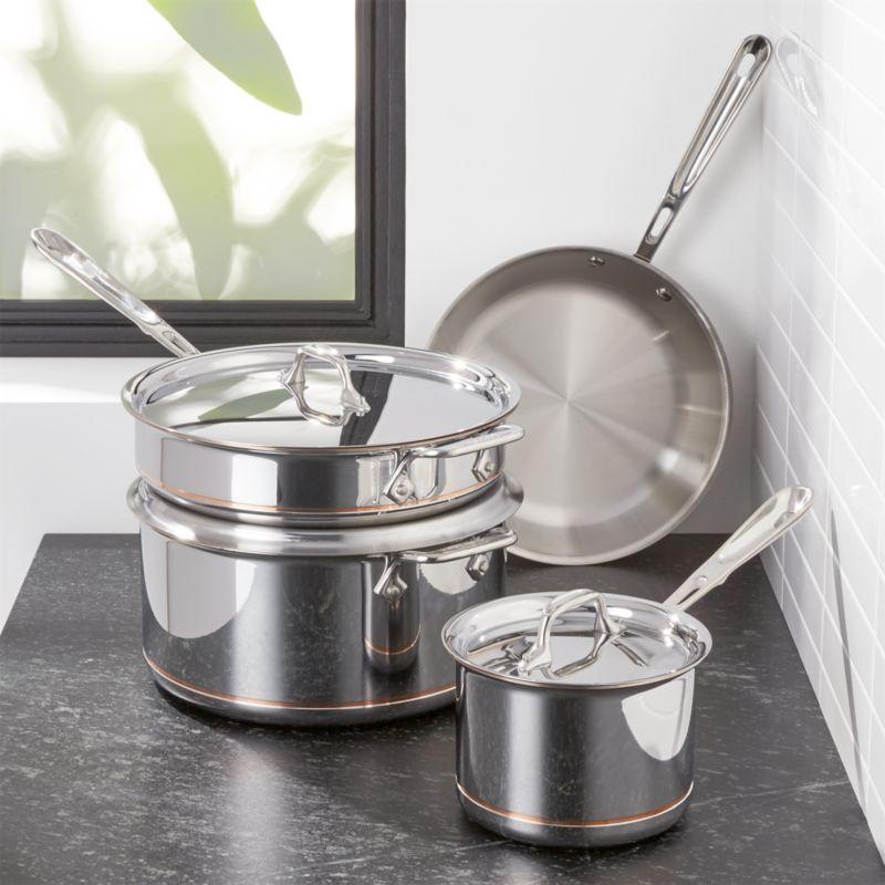 AllClad Copper Core 7Piece Cookware Set Reviews Crate and Barrel