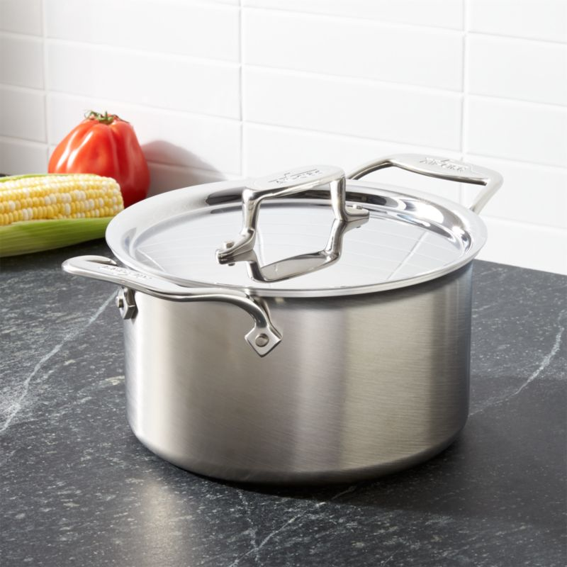 All Clad D5 Brushed Stainless Steel 4 Qt Soup Pot With